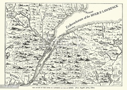 Vintage engraving of a Map of the St Lawrence river, 18th Century