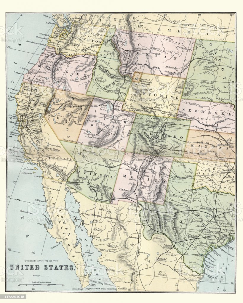 Map Of The Western United States Of America 19th Century ...