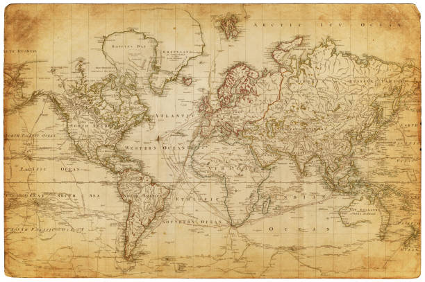 map of the world 1800 - eski stock illustrations