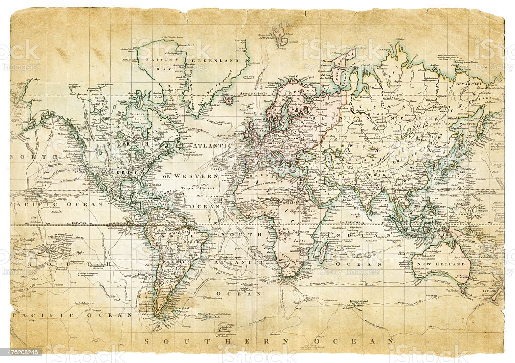 Map of the World 1801 vector art illustration