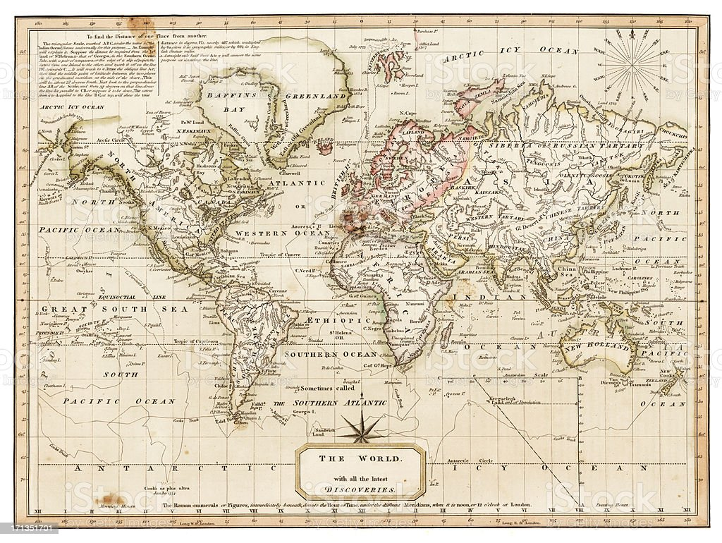 map of the world 1814 vector art illustration