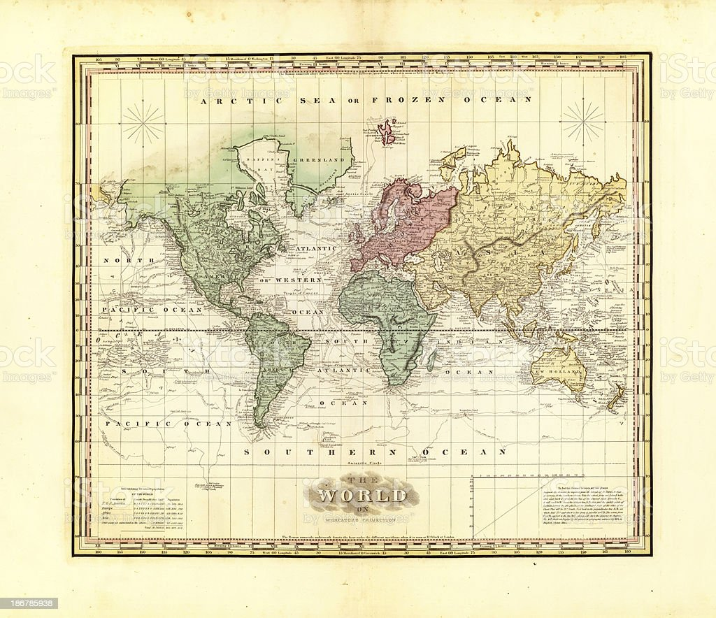 map of the world 1823 royalty-free map of the world 1823 stock vector art & more images of antique