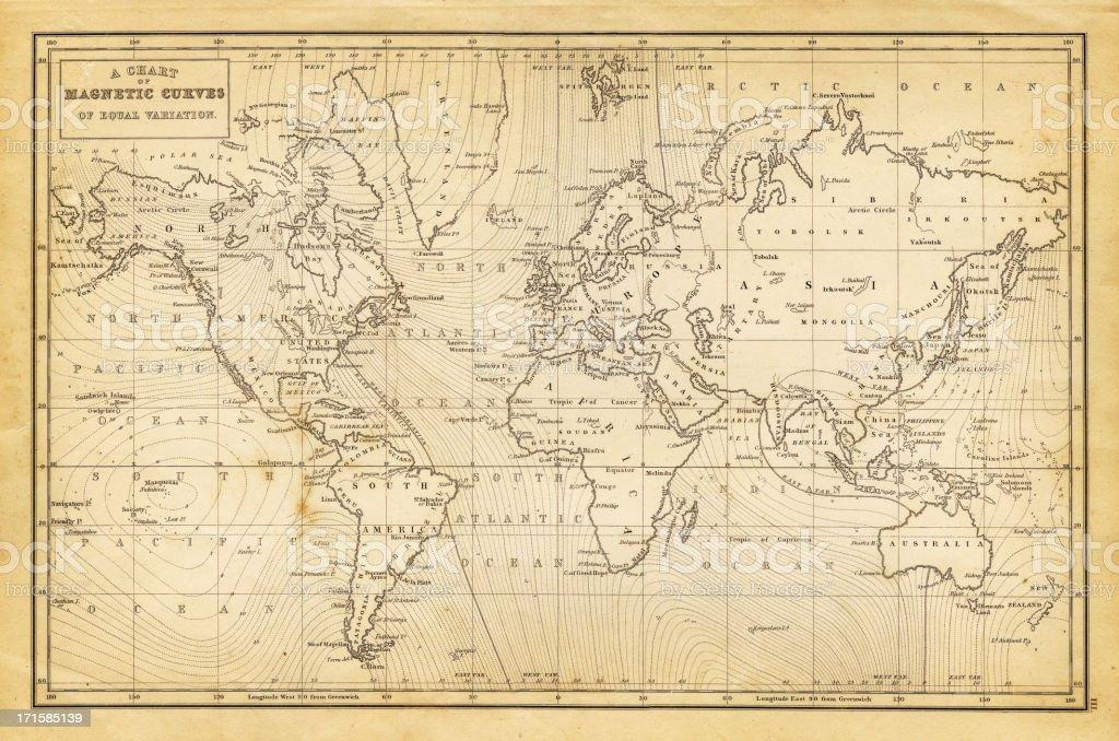 世界地図 1844 ベクターアートイラスト
