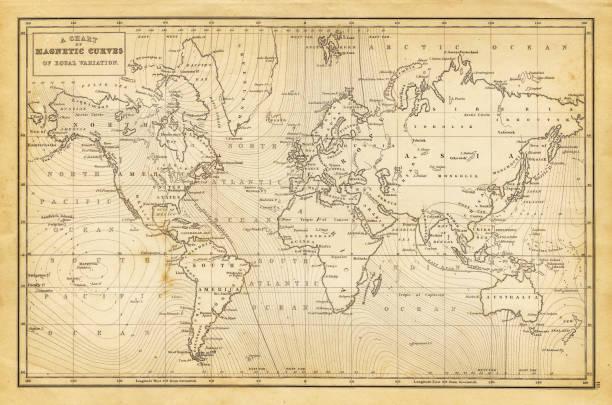 世界地図 1844 - ビンテージの地図点のイラスト素材/クリップアート素材/マンガ素材/アイコン素材