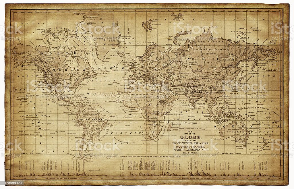 map of the world 1867 vector art illustration