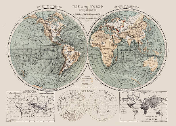 map of the world 1869 - antarctica maps stock illustrations, clip art, cartoons, & icons