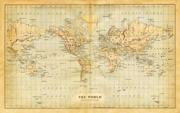 ilustrações de stock, clip art, desenhos animados e ícones de map of the world 1876 - mapa mundi
