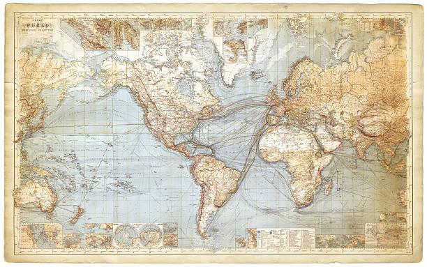 世界地図の浮世絵(1877 ) - ビンテージの地図点のイラスト素材/クリップアート素材/マンガ素材/アイコン素材
