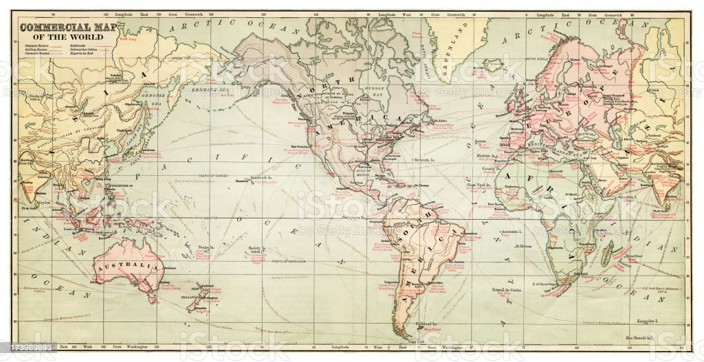 map of the world 1881 vector art illustration