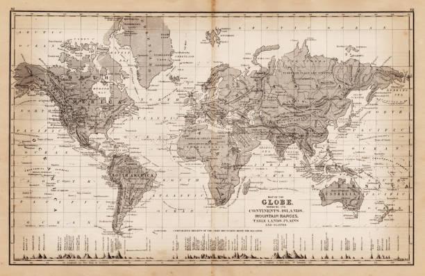 ilustrações de stock, clip art, desenhos animados e ícones de map of the world 1881 - mapa mundi