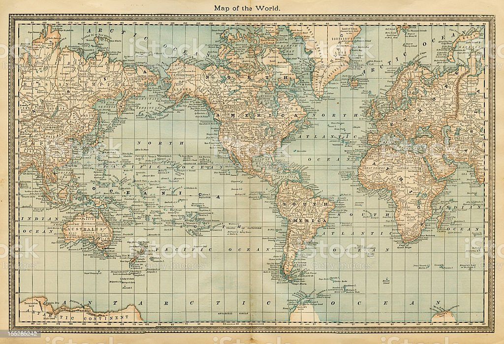map of the world 1882 vector art illustration