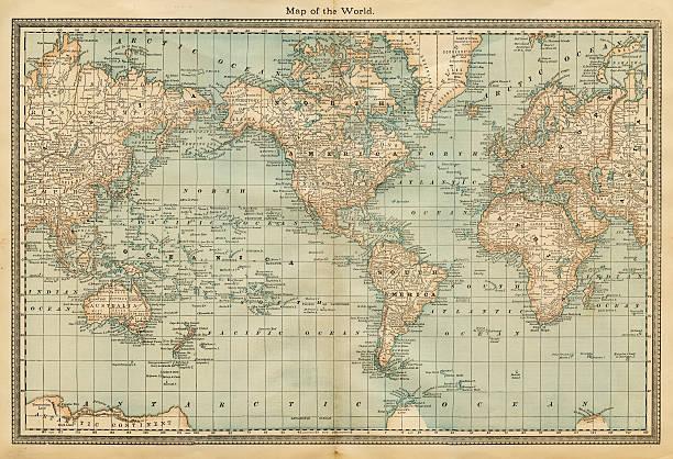 世界地図 1882 - ビンテージの地図点のイラスト素材/クリップアート素材/マンガ素材/アイコン素材