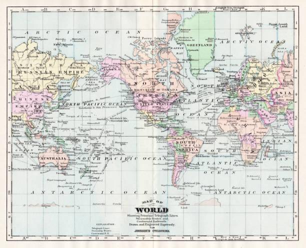 ilustrações de stock, clip art, desenhos animados e ícones de map of the world 1894 - mapa mundi