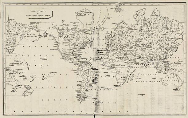 map of the world - 19th century - world map stock illustrations, clip art, cartoons, & icons