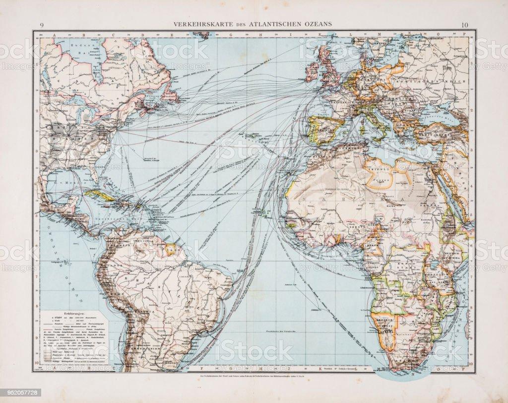 atlantische oceaan kaart Kaart Van Het Verkeer Op De Atlantische Oceaan 1896