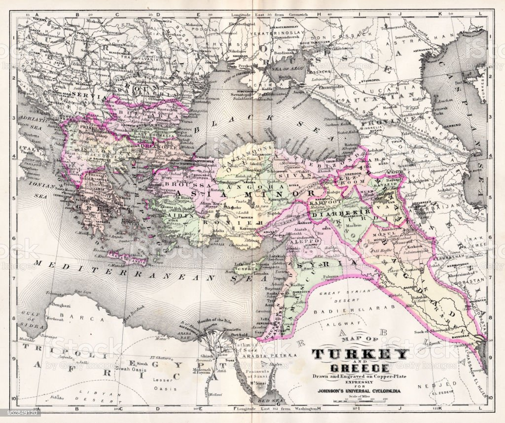 Map Of Turkey And Greece 1894 Stock Vector Art & More Images of ...