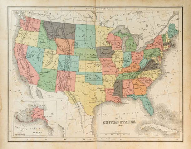 map of united states 1876 - vintage maps stock illustrations, clip art, cartoons, & icons