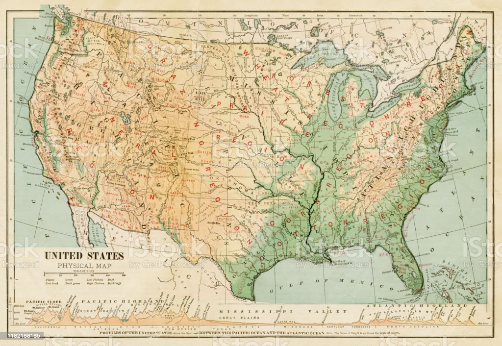 Map Of United States 1899 Stock Illustration Download Image Now Istock