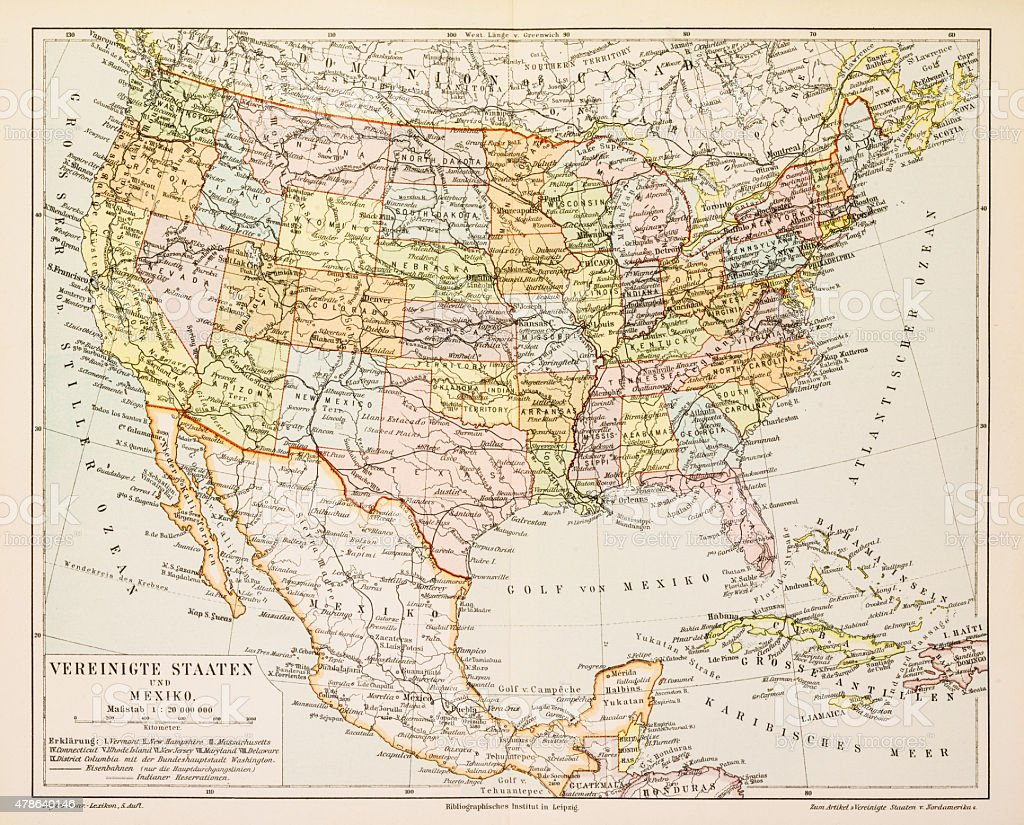 Map of United States and Mexico 1897 vector art illustration