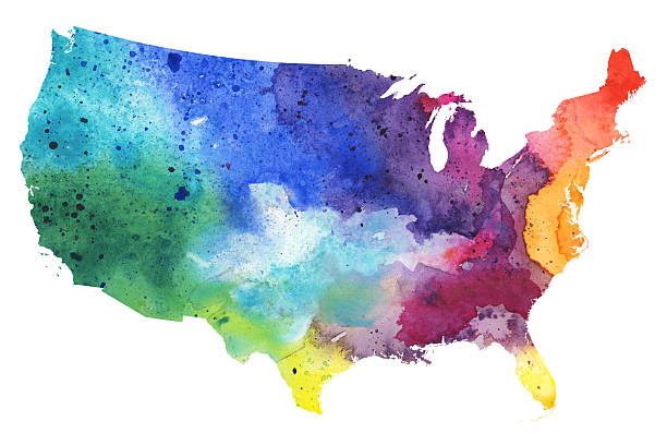 Best Watercolor Us Map Illustrations, Royalty-Free Vector ...