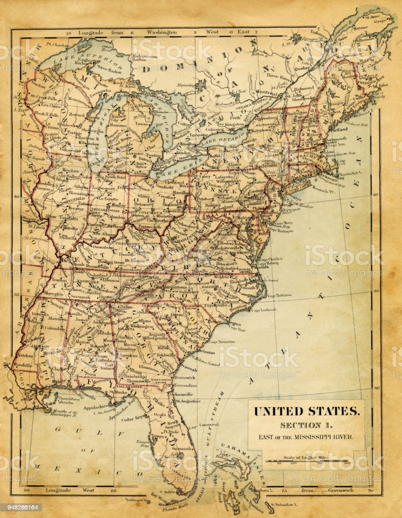 map of usa east of mississippi river 1876 royalty free map of usa east