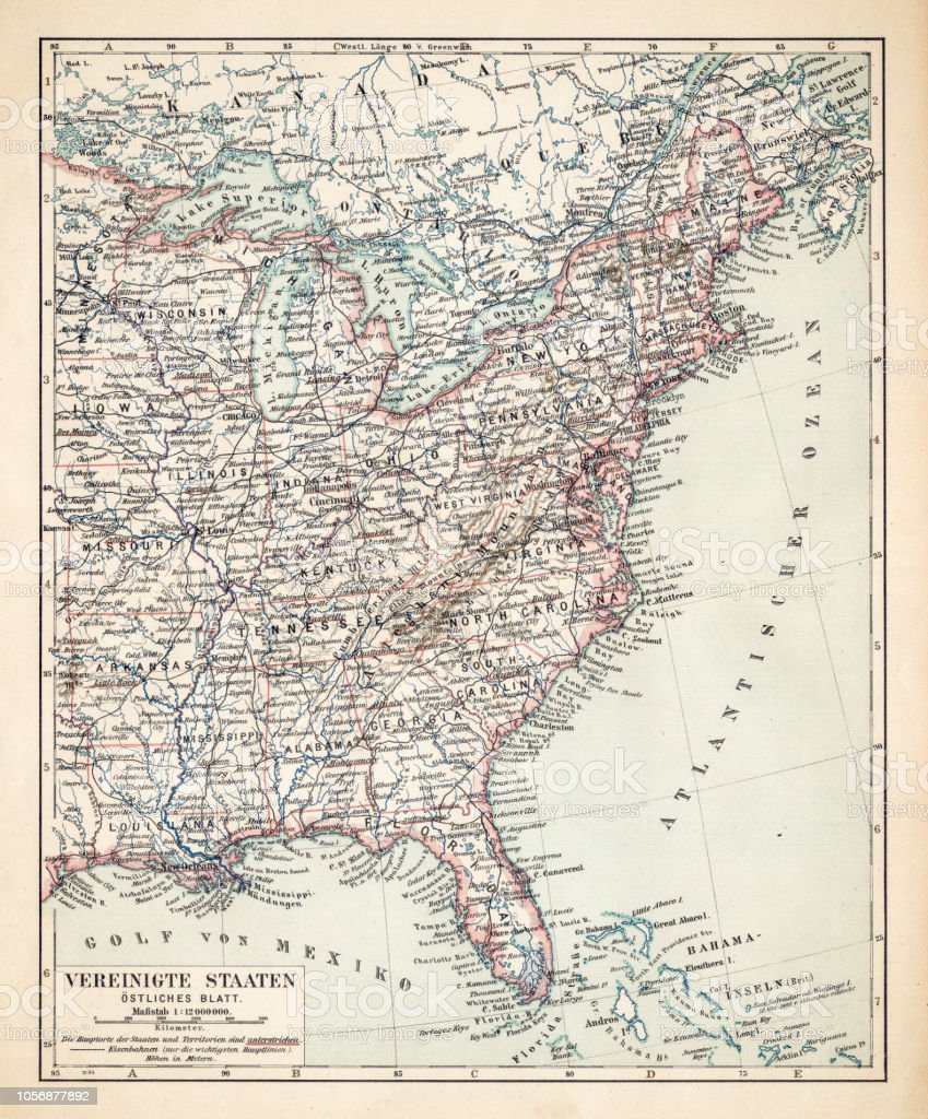 Map Of Usa Eastern States 1900 Stock Vector Art & More Images of ...