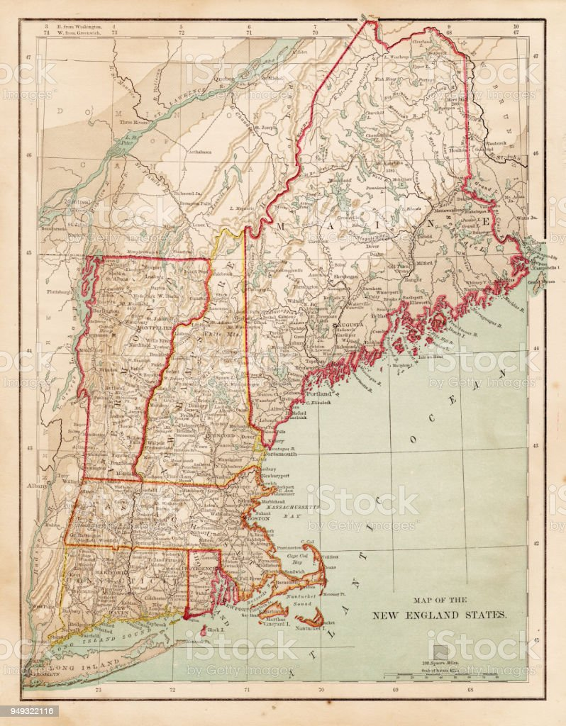 Map Of Usa New England 1877 Stock Vector Art & More Images of ...