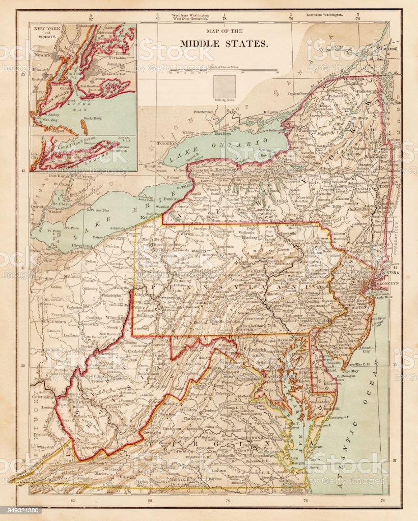 Close Up Usa Western New England Map Published 1975