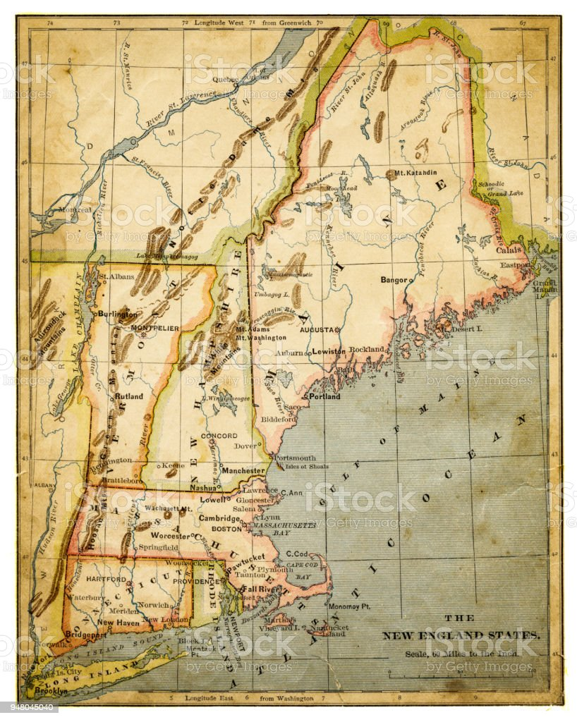 Map Of Usa New England States 1883 Stock Vector Art More Images Of