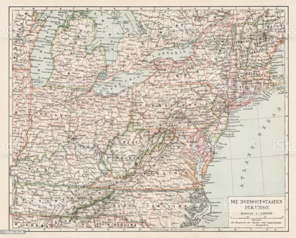 Map Of Usa North East States 1900 Stock Illustration ...