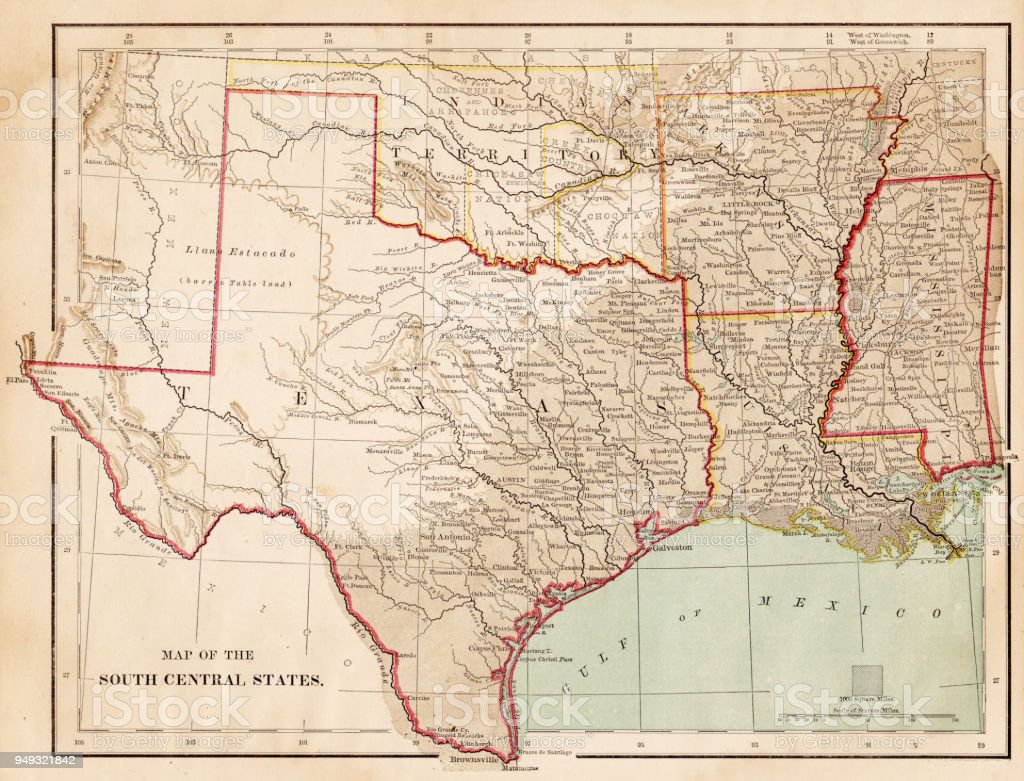 Map Of Usa South Central States 1877 Stock Vector Art & More Images ...