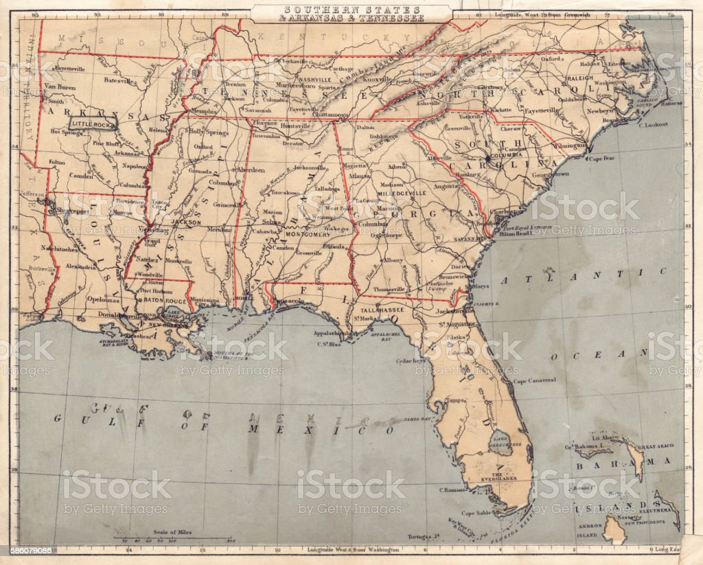 Map of USA Southern states 1869 vector art illustration