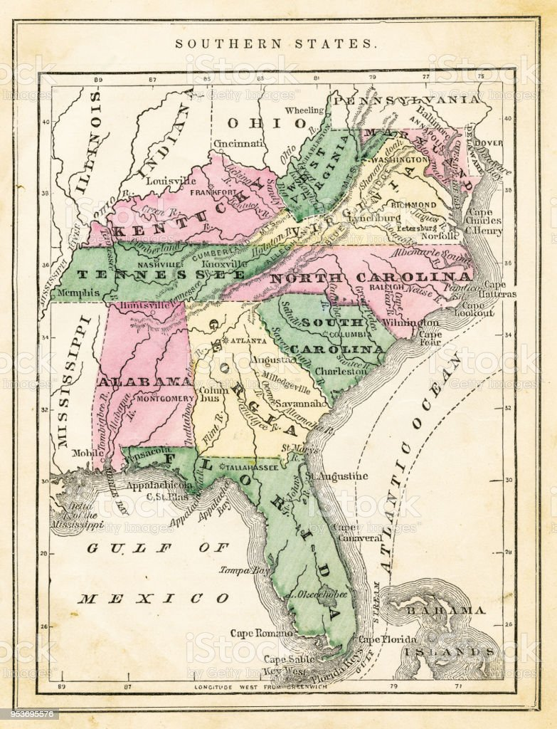 Map Of Usa Southern States 1871 Stock Illustration - Download Image ...