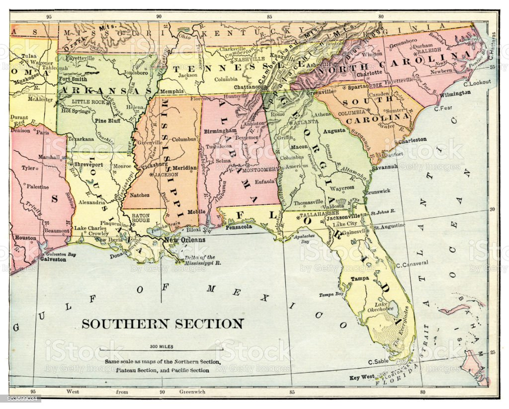 Map Of Usa Southern States 1897 Stock Illustration ...