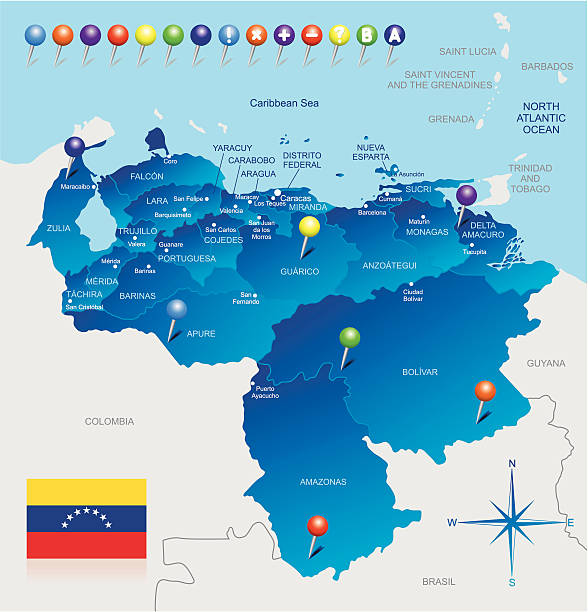 stockillustraties, clipart, cartoons en iconen met map of venezuela - colombia land