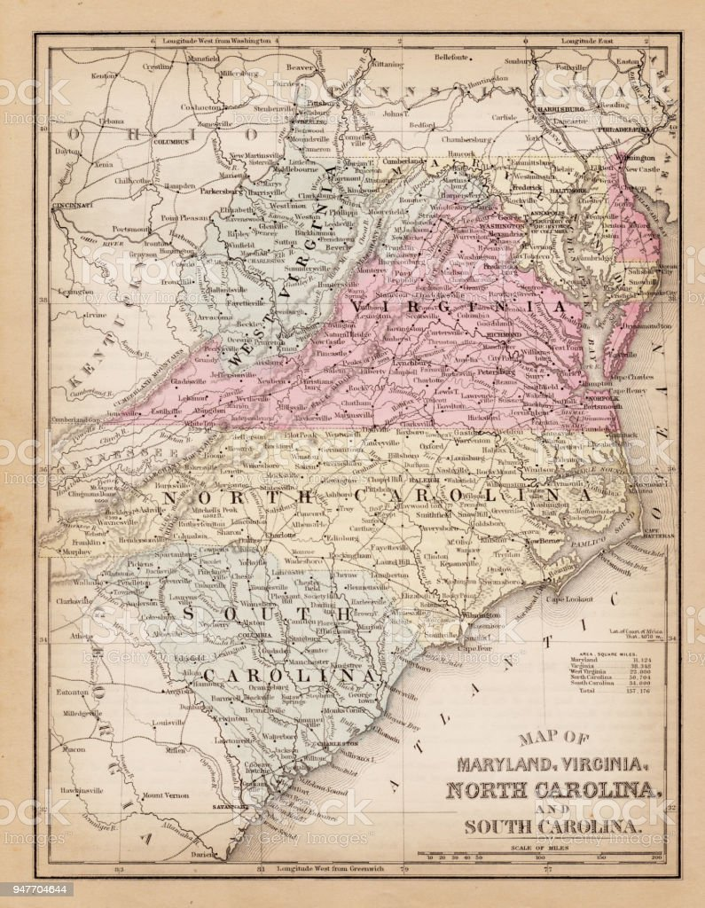 Map Of Virginia And Maryland 1881 Stock Vector Art More Images Of