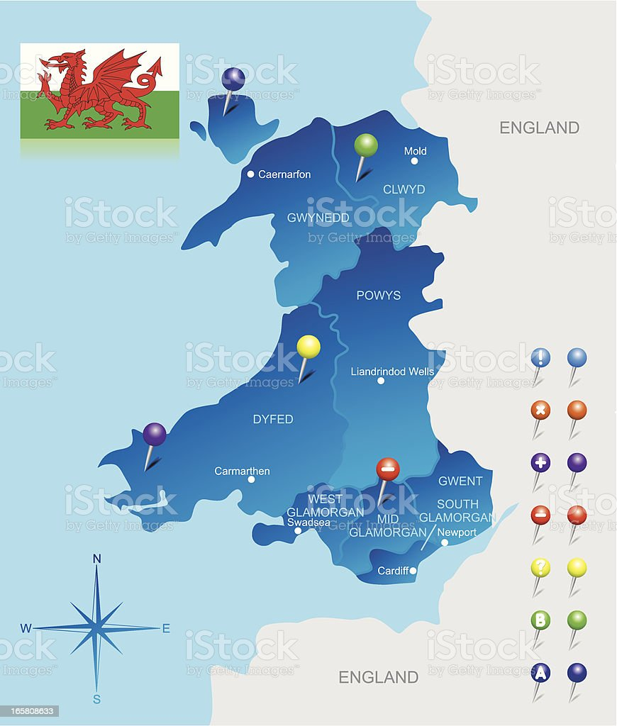 Map of Wales vector art illustration