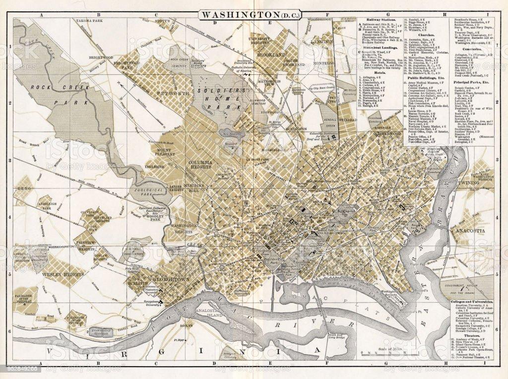 Washington Dc Karte.Karte Von Washington Dc 1894 Stock Vektor Art Und Mehr Bilder Von