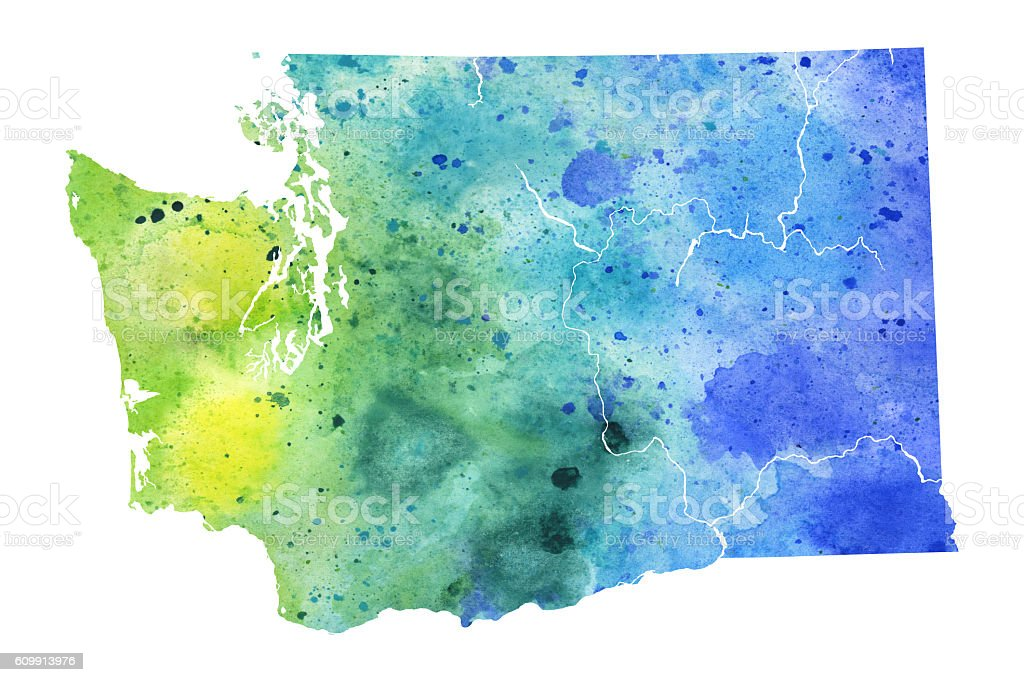 Map of Washington State with Watercolor Texture - Raster Illustration vector art illustration