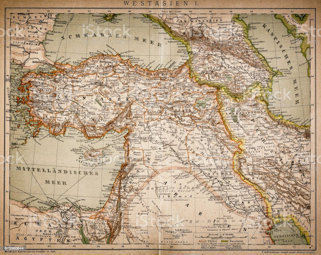 Map of West Asia vector art illustration