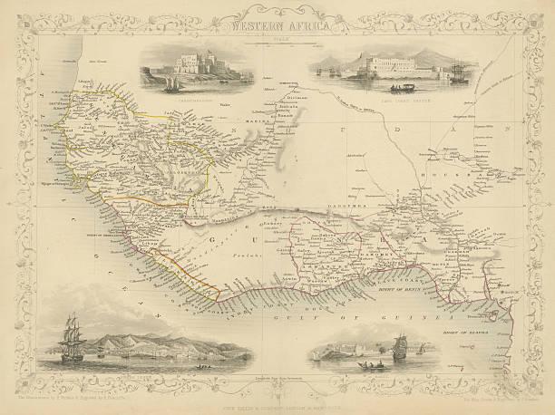 Map of Western Africa 1851 vector art illustration