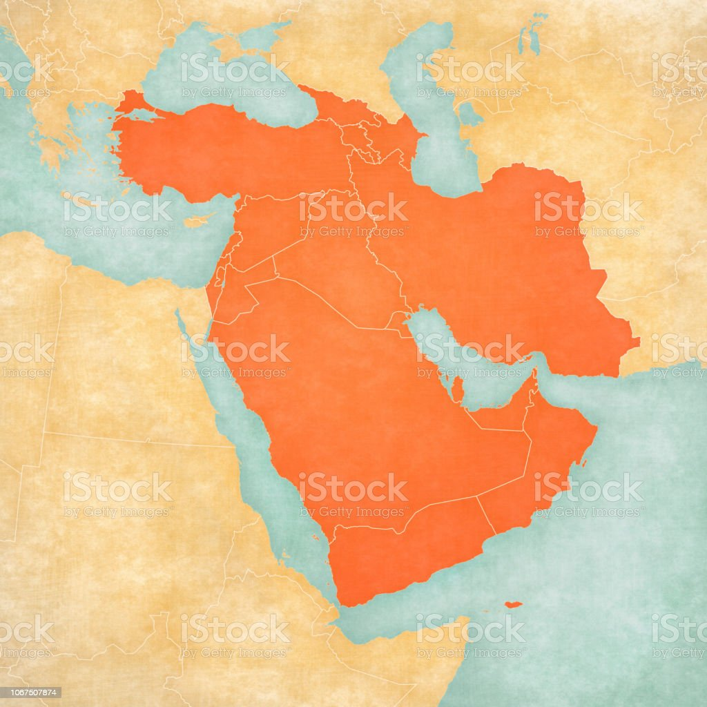 Map Of Western Asia All Countries Stock Illustration ...