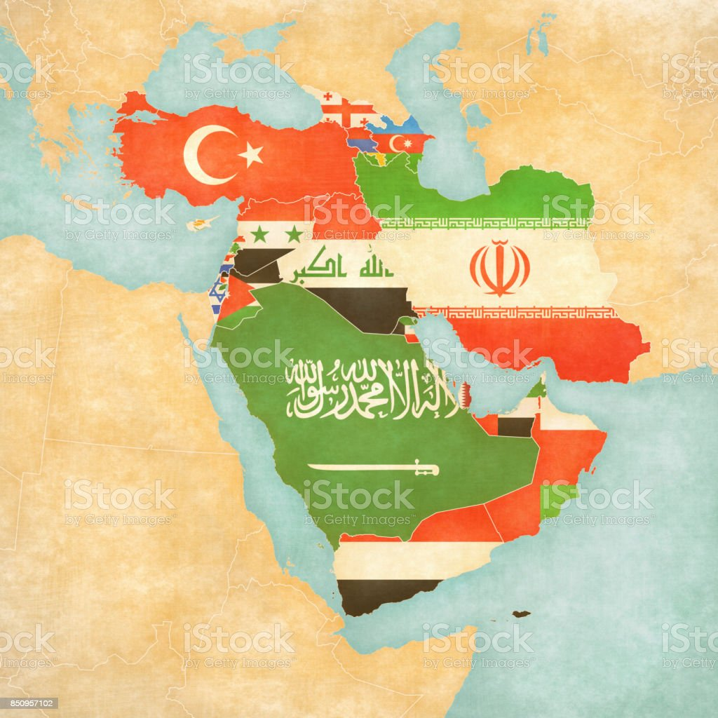 Map of Western Asia - Flags of all countries vector art illustration