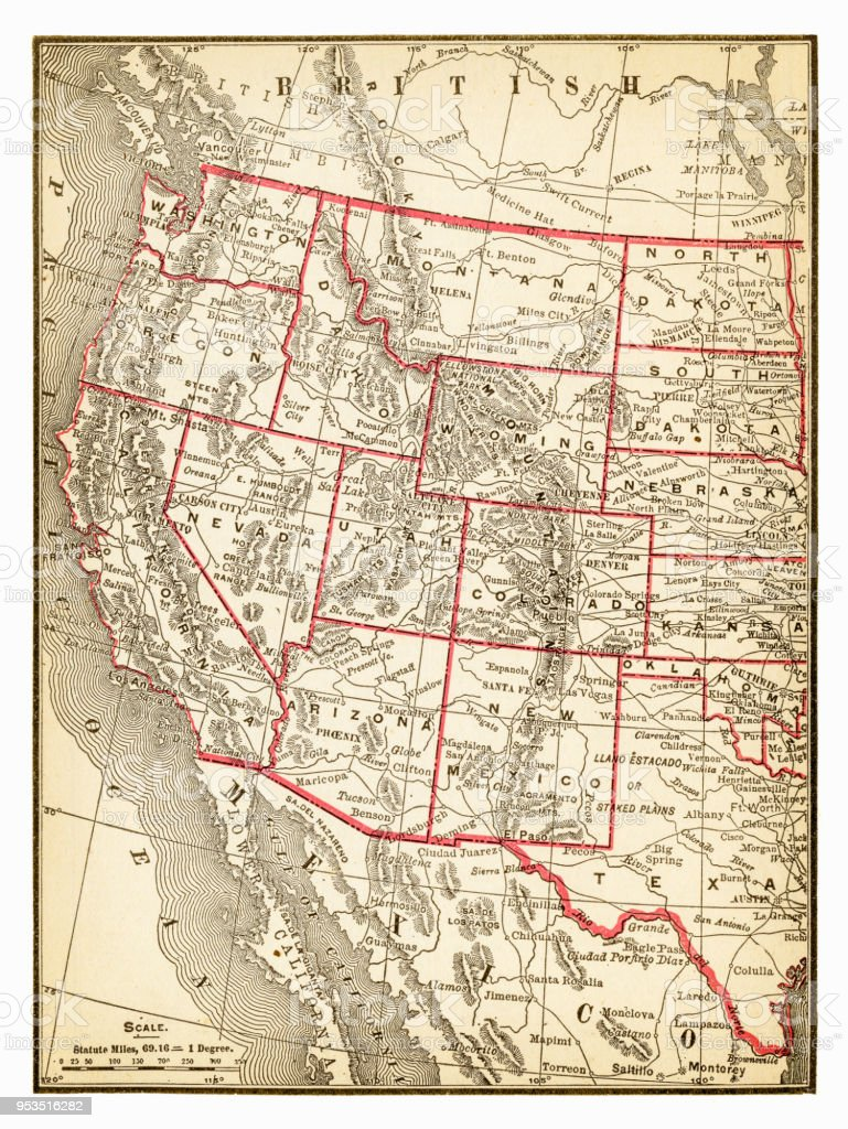 Map Of Western Usa 1893 Stock Illustration - Download Image ...