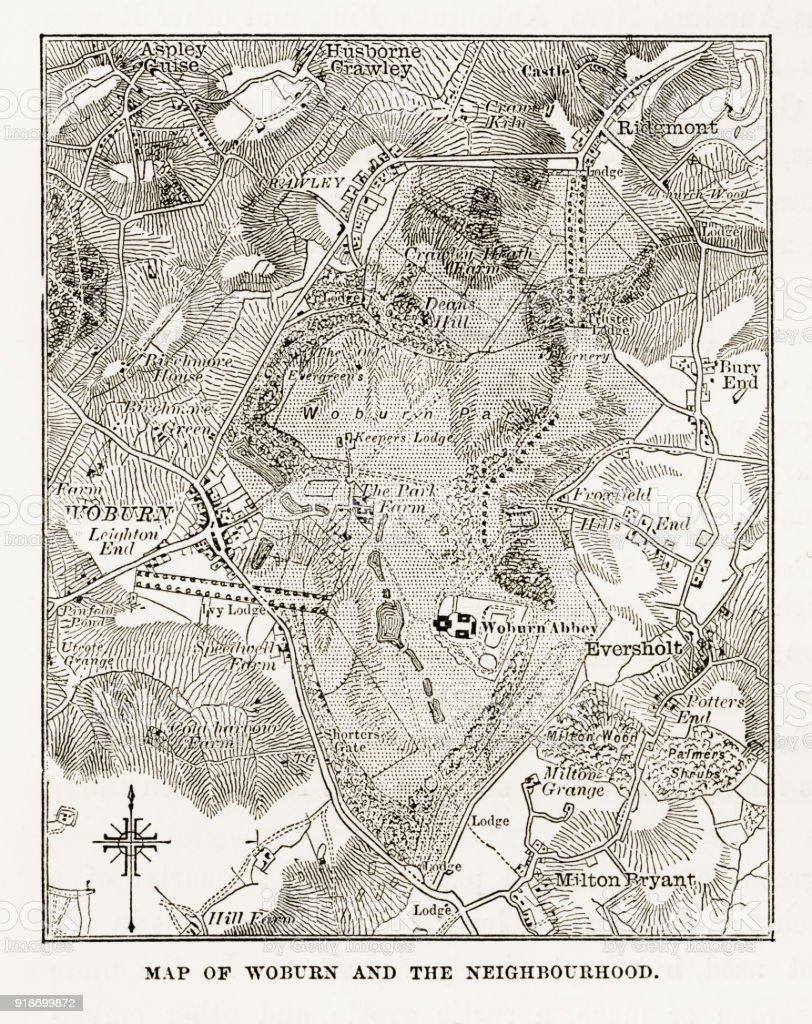 Map of Woburn and Neighborhoods, England Victorian Engraving, Circa 1840 vector art illustration
