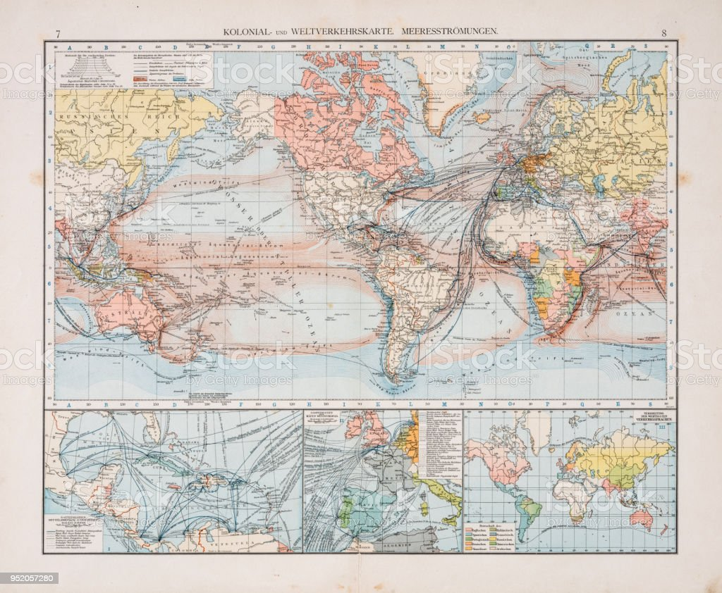Map of world traffic map and currents 1896 vector art illustration