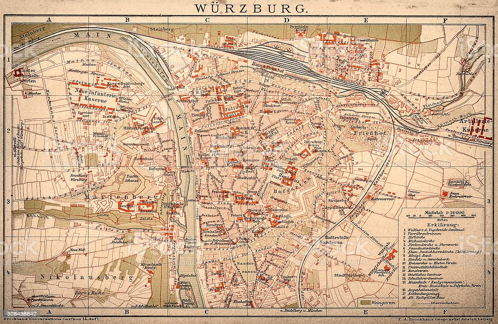 Map Of Wrzburg 1898 stock vector art 528438842 iStock
