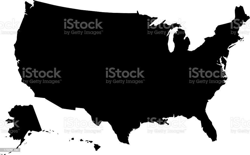Usa Map Outline Or Silhouette Stock Vector Art & More Images of ...