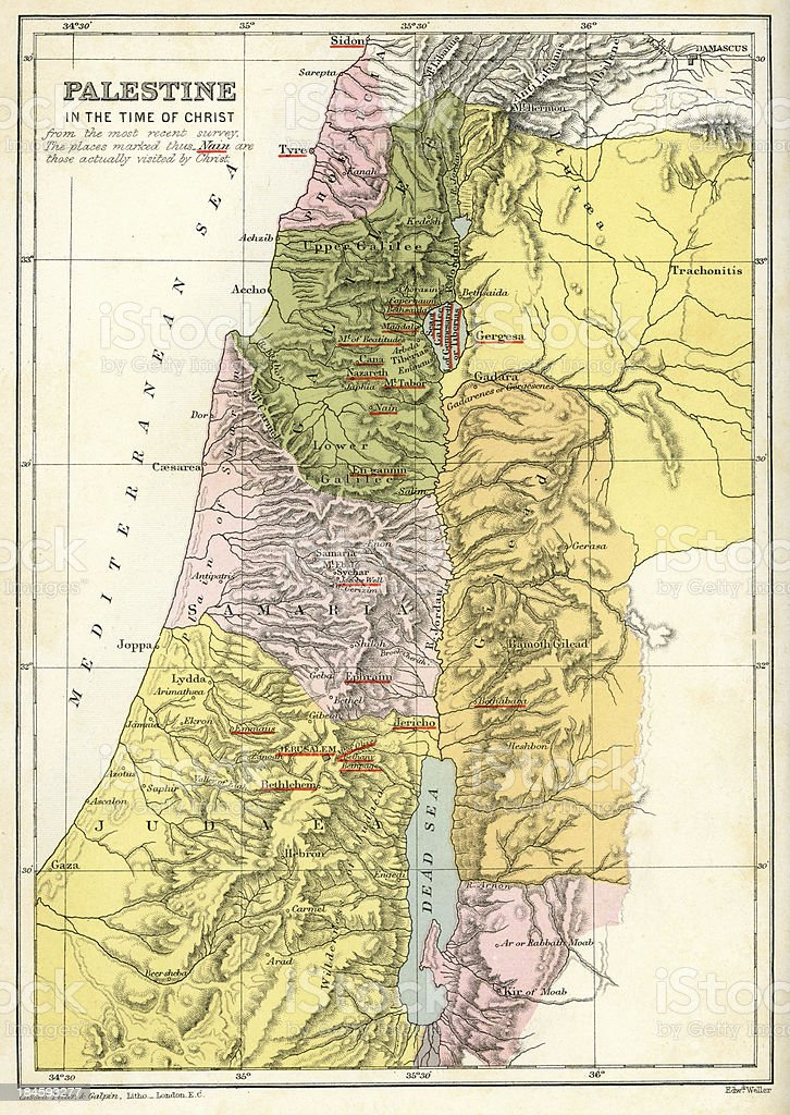 Map - Palestine in the time of Christ vector art illustration