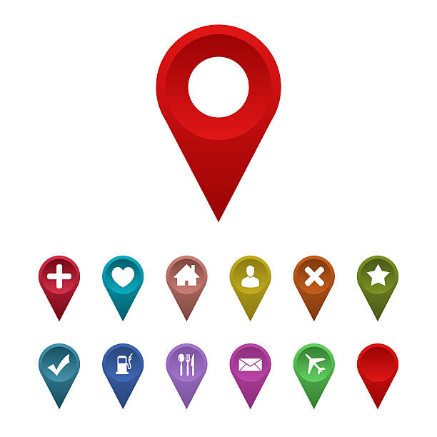 ilustraciones, imágenes clip art, dibujos animados e iconos de stock de puntero con icono de mapa del sitio - lugar de interés